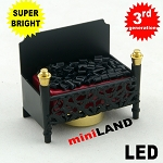 Fire Grate LED Fireplace Dollhouse Glowing Embers light miniature red